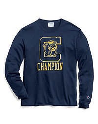 Champion Men's Heritage Long-Sleeve Slub Tee, C Logo with Bulldog