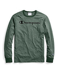 6a605e6b0c64 Champion Men's Heritage Heather Long-Sleeve Tee, Script Logo. NEW