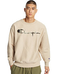 Champion Life® Men's Reverse Weave® Camo Crew, Chenille & Mixed Logo