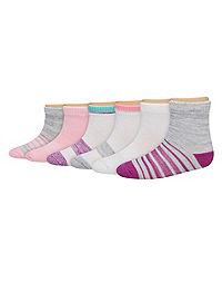 Hanes Toddler Girls' Ankle Socks 6-Pack