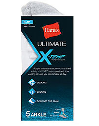 Hanes Ultimate®  X-Temp® Men's Ankle Socks White 5-Pack