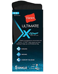 Hanes Ultimate®  X-Temp® Men's Ankle Socks Black 5-Pack