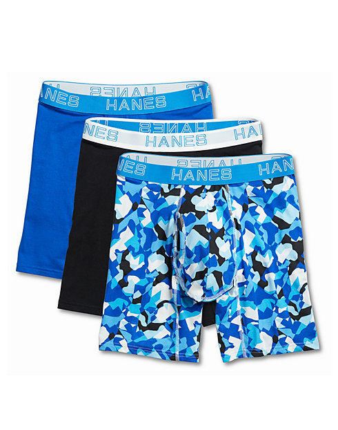 Hanes Ultimate™ Men's Comfort Flex Fit® Cotton/Modal Boxer Briefs Assorted Designs 3-Pack