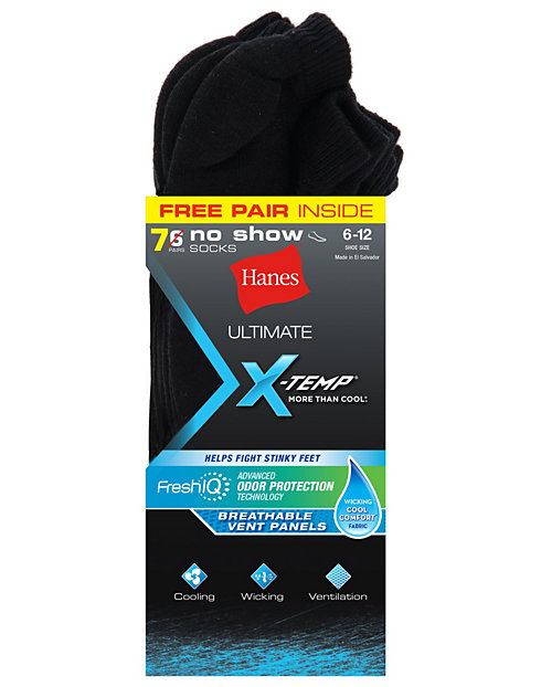 Hanes Ultimate™  X-Temp® FreshIQ™ Men's No Show Black 7-Pack (Includes 1 Free Bonus Pair)