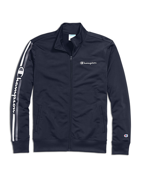 Champion Men's Track Jacket, Vertical Logo
