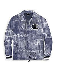 Champion Life® Men's Printed Satin Coaches Jacket, Big C Logo