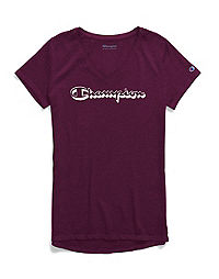 Champion Women's Authentic Wash V-Neck Tee, Shadow Logo