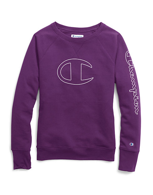 Champion Women's Powerblend® Fleece Boyfriend Crew, Vertical Logo