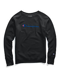 Champion Women's Powerblend® Fleece Boyfriend Crew, Script Logo