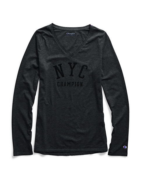 Champion Women's Authentic Wash Long-Sleeve Tee, NYC