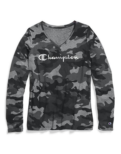 Champion Women's Authentic Wash Long-Sleeve Tee, Camo Print