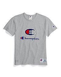 Champion Century Collection Women's Tee, C100 Chenille Logo