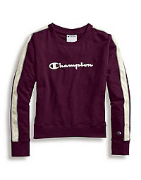 Champion Women's Heritage Fleece Crew, Satin Stitch Logo