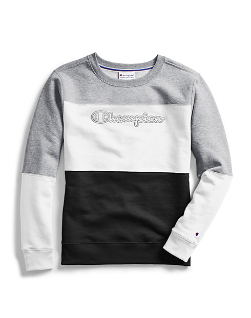 Champion Women's Powerblend® Colorblock Crew, Chainstitch Outline Logo