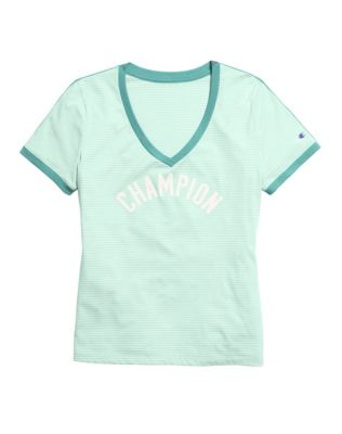 Champion Women's Heritage V-Neck Ringer Tee, Flocked Logo