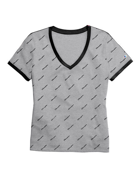 Champion Women's Heritage V-Neck Ringer Tee, All-Over Logo