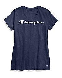 Champion Women's Jersey V-Neck Tee, White Logo