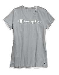 Champion Women's Jersey V-Neck Tee, White Logo