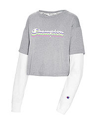 Champion Women's Middleweight Cropped Two-fer Tee