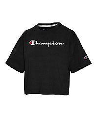Champion Women's Cropped Tee, Script Logo