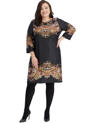 3/4 Sleeve Boatneck Dress