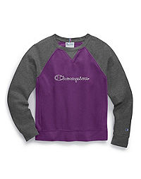Champion Women's Heritage Fleece Crew, Top Champion Logo