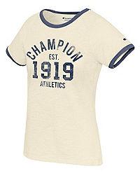 Champion Women's Heritage Ringer Tee, Est. 1919 Logo