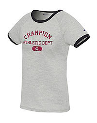 Champion Women's Heritage Ringer Tee, Rochester Arch