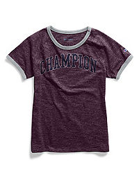 Champion Women's Heritage Ringer Tee, Collegiate Crackle Logo