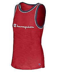 Champion Women's Heritage Ringer Tank, Script Logo