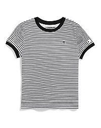 Champion Life® Women's Tiny Stripe Tee, Embroidered Logo