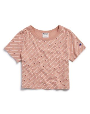 Champion Life® Women's Cropped Tee, All-Over Logo
