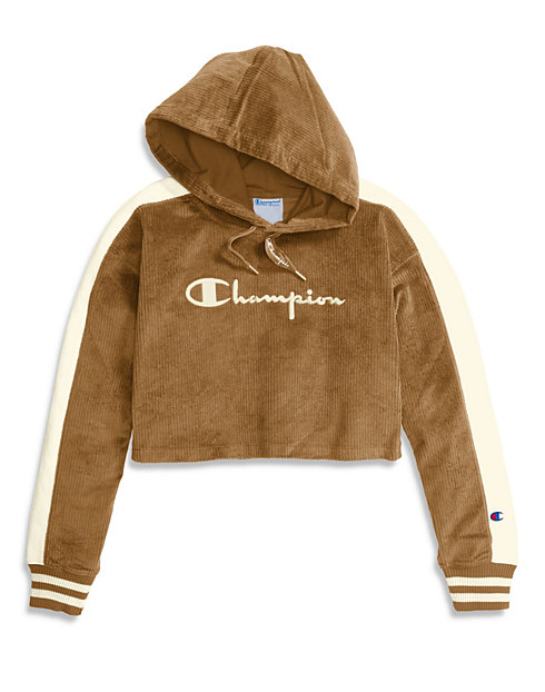 Champion Life® Women's Corduroy Cropped Hoodie, Embroidered Logo