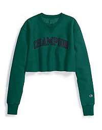 Champion Life® Women's Reverse Weave® Vintage Wash Cropped Cut Crew-Men's Fit, Satin Logo