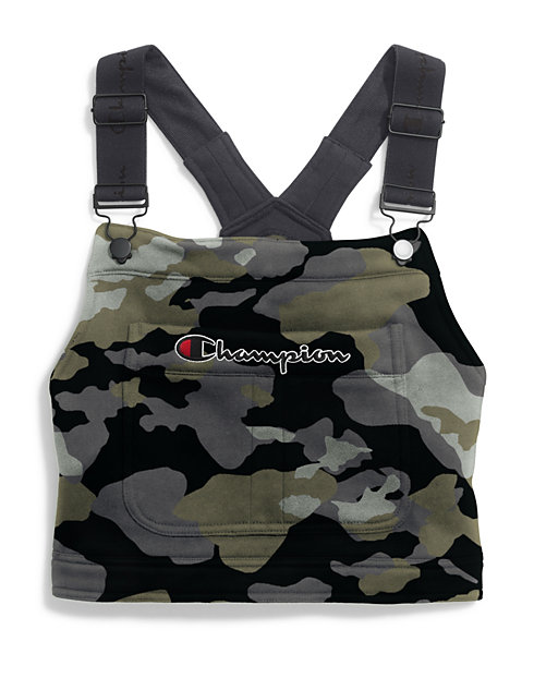 Champion Life™ Women's Super Fleece Overall Bib Crop Top, Camo Print