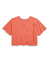 Champion Life® Women's Garment Dyed Cropped Tee, Clear Gel Logo