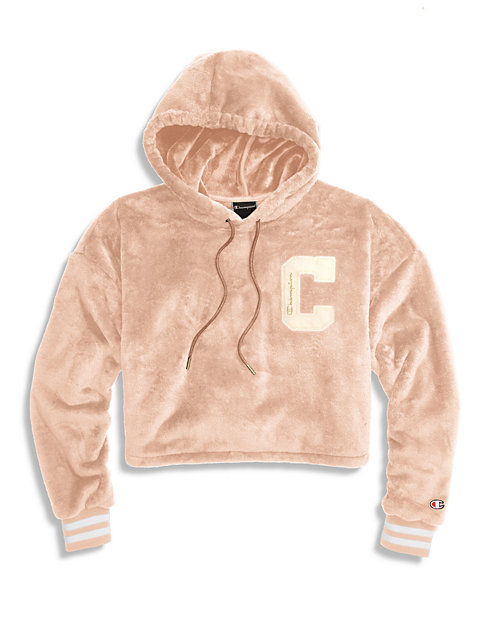 Champion® Women's Faux Fur Cropped Hoodie, C Block C Logo