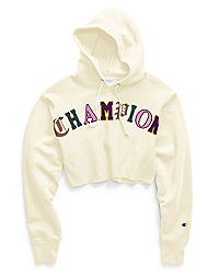 Champion Life® Women's Reverse Weave® Crop Cut Off Pullover Hoodie, Old English Lettering