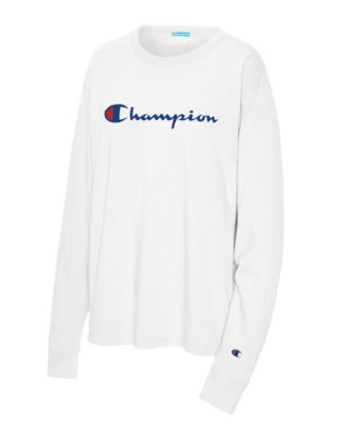 Champion Life Women's Boyfriend Long-Sleeve Tee, Script Logo