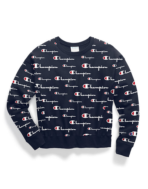Champion Life® Women's Reverse Weave® Crew, All-over Logo