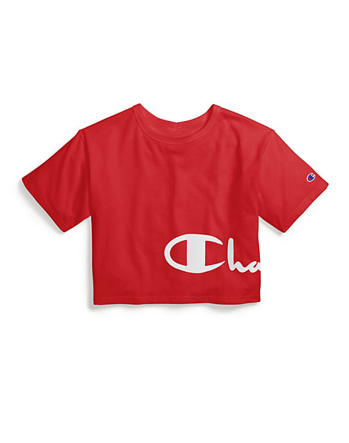Champion Life® Women's Heritage Crop Tee, Wrap Around Logo