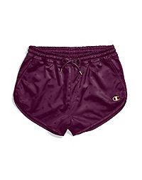 Champion Life® Women's Satin Shorts, Gold Lurex C Logo
