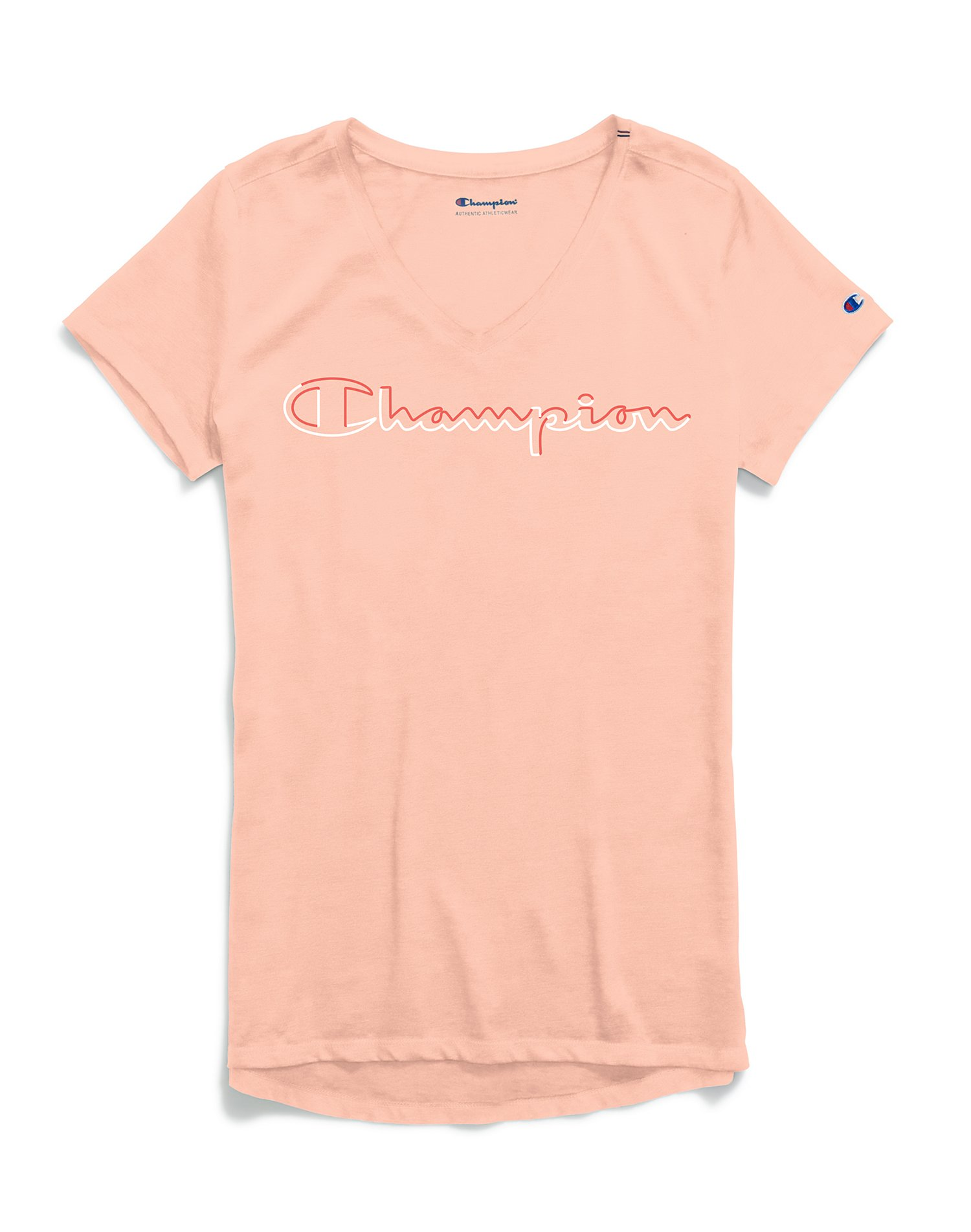 6dad9b04a Champion Women's Authentic Wash V-Neck Tee, Colorblock Logo   Maidenform