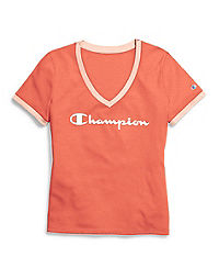 Champion Women's Heritage V-Neck Ringer Tee, Flocked Script Logo